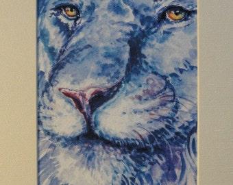 Lion Art, Lion King , African Animal Print with matte, big cat art, cat wall art