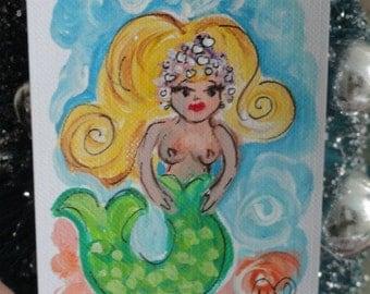 original Mermaid art, Original ACEO, Mermaid painting, mini painting, mini mermaid painting