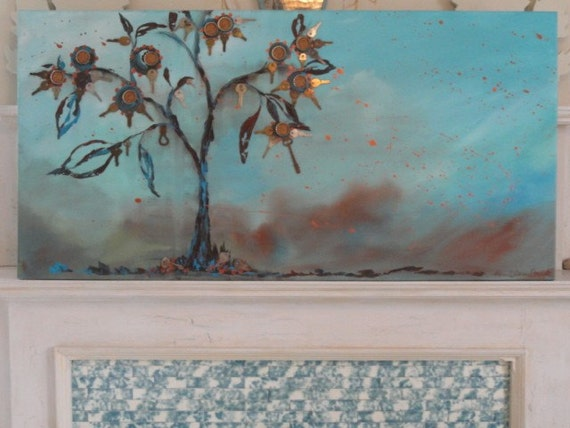 Tree Painting, OriginalTree painting,  upcycled Painting  rusty keys found objects 48 x 24
