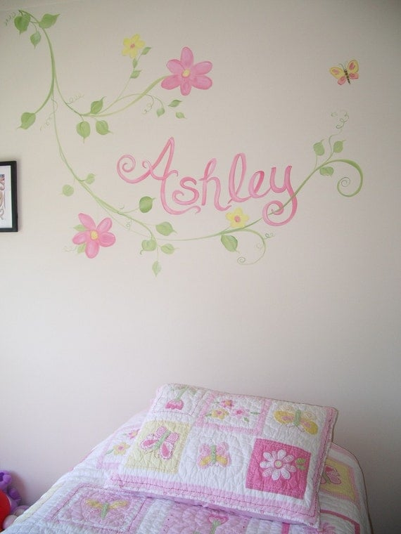 Nice Estimate For Bedroom Wall Murals For Kids, Custom Kids Room Art, Custom Wall  Murals, Girls Room Art, Painted Name, Personalized Wall Art Part 30