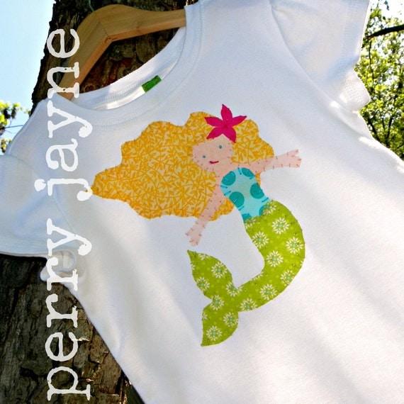 Custom Made- Ella the Enchanted Mermaid - Applique Shirt or Onesie-Choose your mermaids hair color