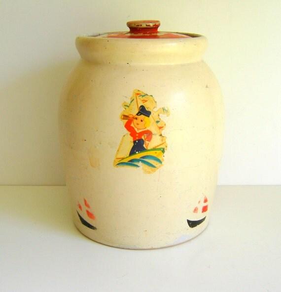 Antique Cookie Crock Nautical Red Lid Cookie Jar