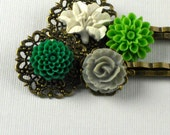 Flower Hair Pin, Flower Hair Pins, Hair Pin, Hair Accessories, Bobby Pin, Flower Hair Clip, Hair Clip  -MISTY MORNING