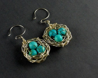 Silver Bird Egg Nest Earrings, Earrings, Nest Earrings, Birds Nest Earrings, Bird Nest, Turquoise Earrings