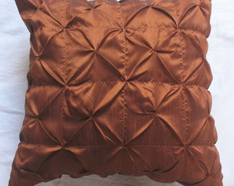 rust brown pleated cushion cover.Deceretive brown pillow ruoch pintuck cushion cover 18inch custom made