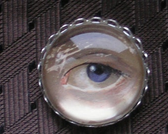Custom Eye Miniature Hand-Painted, Original Painting Personalized Brooch or Necklace