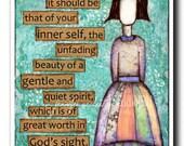 Inspirational Christian Art Girl Unfading Beauty print