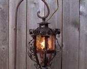 Vintage Glass & Metal Hanging Lantern