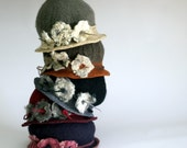 multicolour 1920s felted hat, felt hat, felted cloche, chapeau nunofelt wearable felt retro hat Fiber art MADE TO ORDER winter accessory