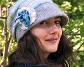 Unique handmade felt beanie hat womens winter slouch hat felt French cap  felt Brim Hat wet felted cap nunofelt grey felt hat RESERVED