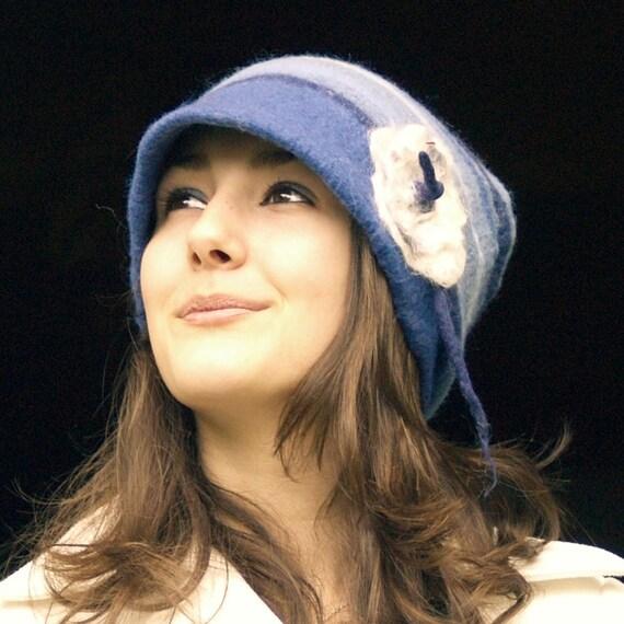 Sky Blue  cap nuno felted hat fiber art merino wool wool hat felt flower womens hat handmade France Etsy jannio