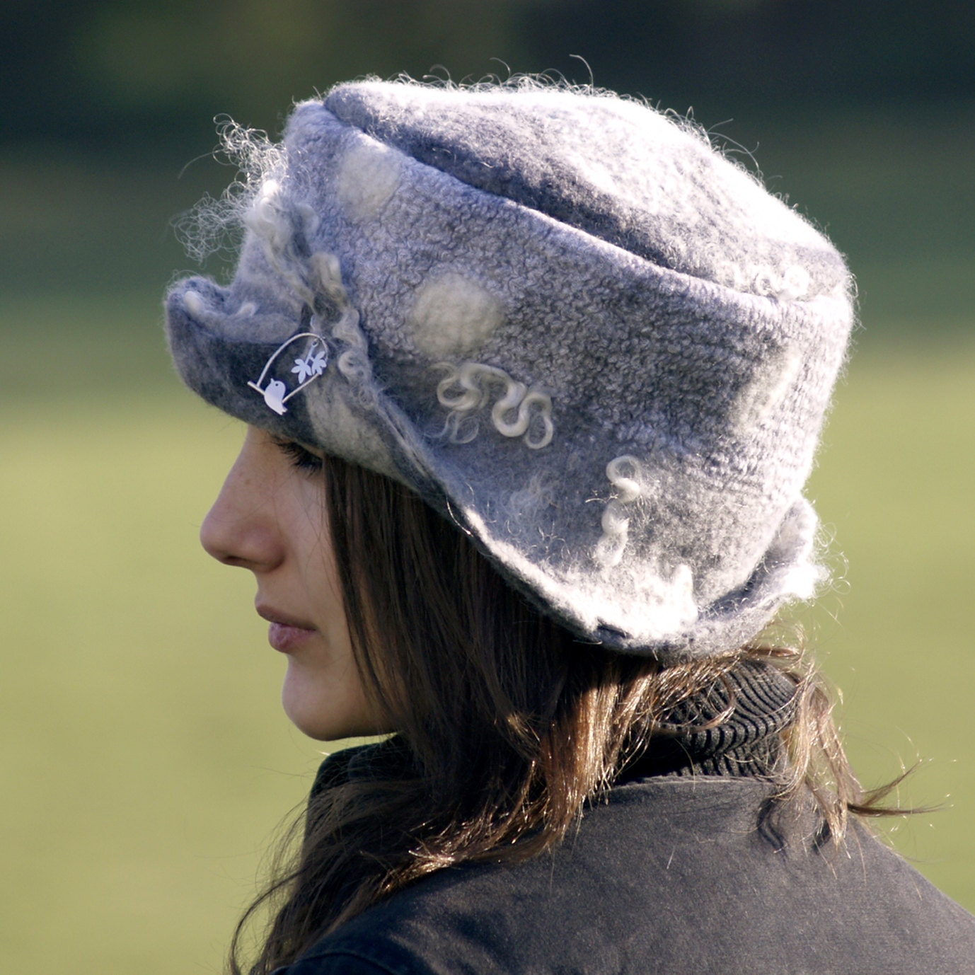 felted hat made from grey merino wool unique grey felt hat