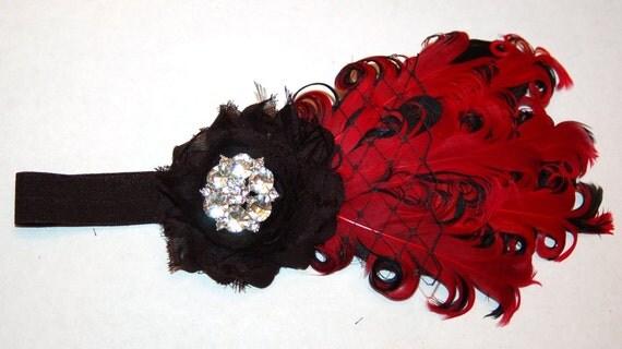 Red Black Baby Infant Headband Newborn Girls Toddler Elastic Feather Headband Birthday Nagorie Goose Feathers