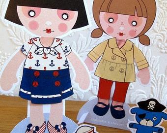 Printable PDF - Sailor Paper Dolls