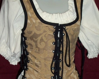 Odd Bodkin Maiden Bodice in Gold Scroll Brocade - Made to Order - gldtap4