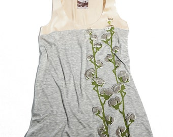 Charmeuse yoke tank with puff cotton plant print