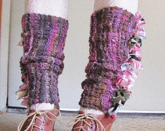 Casually Ruffled - Hand Spun, Hand Knit Legwarmers - Damask Rose