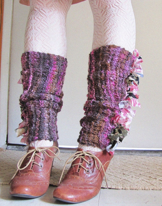 Casually Ruffled - Hand Spun, Hand Knit Legwarmers - Damask Rose