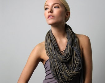 Gray Scarf, Statement Necklace, Infinity Scarves, Girlfriend Gift, Wife Gift, Unique Gift, Girlfriend Gift, Gift for Wife, Womens Gift