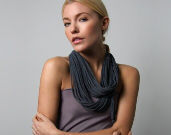Girlfriend Gift, Gift for Girlfriend, Gifts For Her, Necklace, Infinity Scarf, Gift Ideas, Grey Infinity Scarf, For Her, Charcoal Gray Scarf