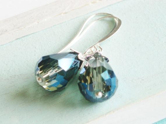 Crystal Teardrop Earrings - Midnight