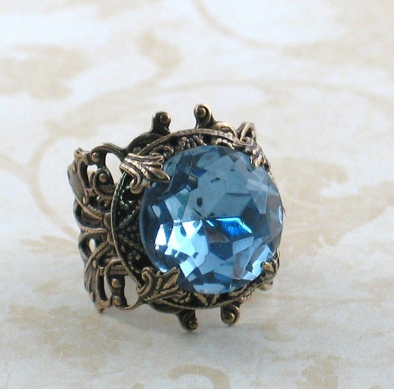 Blue Sky - Gorgeous Vintage Light Sapphire glass stone and Filigree Ring by Lorelei Designs - Victorian style jewelry