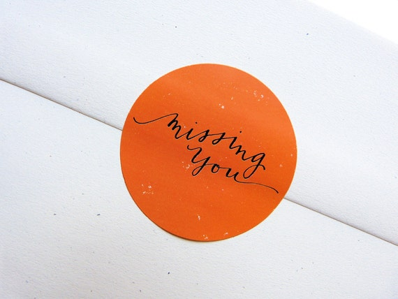 Envelope Seals - MISSING YOU - Bright Orange Stickers
