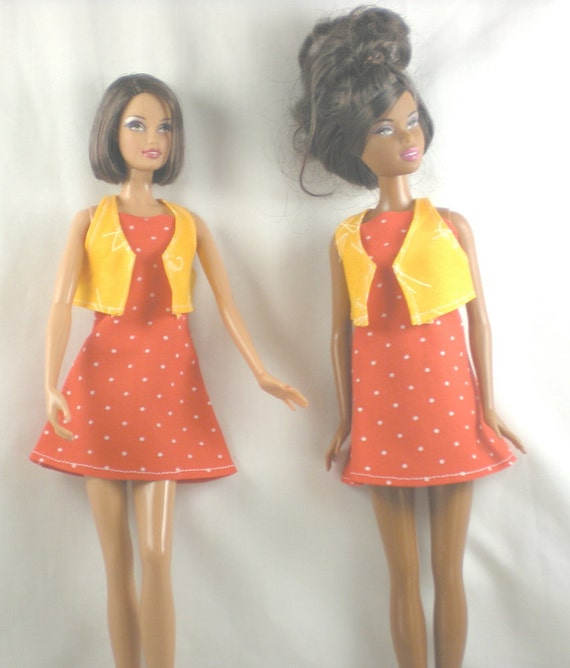 Handmade Barbie Clothes Red Dot Dress Canary Yellow Cat Print Vest - Doll Fashion for 11 .5 Doll such as Todays Barbie & Barbie Basics