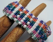 REDUCED Brights and White Beaded Macrame Bracelet Pink Blue Orange