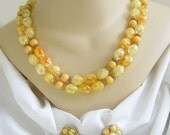 Vintage 2 Strand Orange and Yellow Crackle Lucite Beaded Necklace and Earring Demi Parure Set