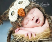POPULAR Baby Owl Hat Newborn 0 3m Fuzzy Brown  SOFT Christmas Crochet  Photo Prop Baby Clothes Boys Girls Gift  Super CUTE