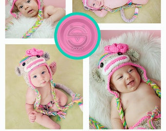 POPULAR Rainbow Sock Monkey HAT Size Newborn 0 3m 6m  Crochet Girls clothes photo prop Beautiful Colors Perfect year Round Gift