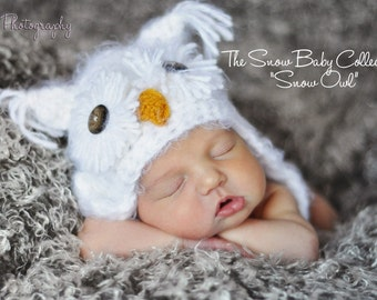 Warm White Fuzzy Owl Baby Hat Size Newborn 0 3m 6m Crochet Photo Prop boy girl Gender Neutral Super SOFT