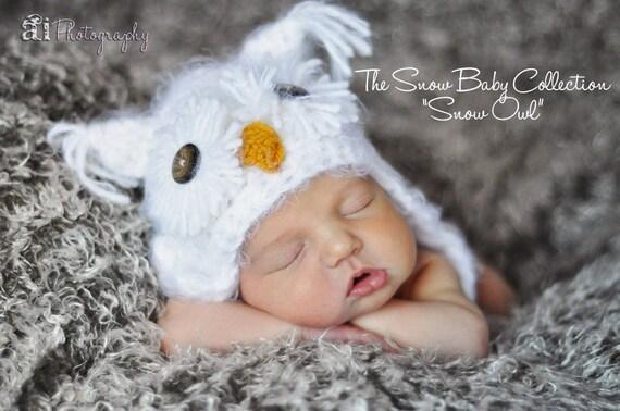Warm White Fuzzy Owl Baby Hat Size Newborn 0 3m Crochet Photo Prop boy girl Gender Neutral Super SOFT