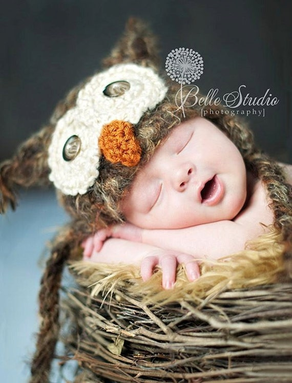 Baby Owl Hat Size Newborn 3m 6m Brown Crochet Soft Photo Prop Baby Boys Girls Clothes Gender Neutral CUTE Perfect all year Round