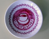 Cup of coffee china plate hand painted reworked