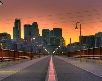 Minneapolis, MN Skyline at Sunset - Fine Art Print