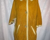 Mod Mustard Gold Suede Cape Jacket Size Small Vintage 60s