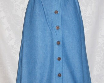 Button Front Skirt So Faux Denim Size Small Vintage 70s