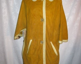 Mod Mustard Suede Cape Jacket Size Small Vintage 60s