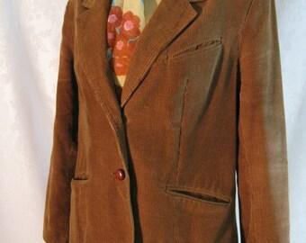 Caramel Brown Clovis Ruffin Corduroy Blazer Size Medium Vintage 70s