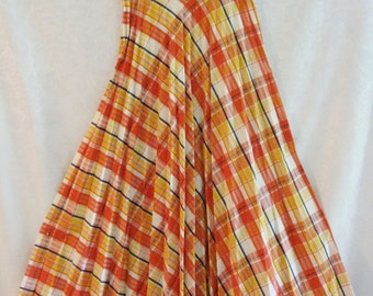 Plaid Accordion Pleated Seersucker Maxi Skirt Size Small Vintage 70s