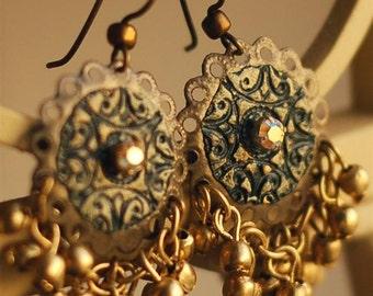 Dangle Earrings, Fancy Chandelier Earrings, Feastive Jewelry, Jingle Bells, Dark Green and Gold Earrings, Ornate, Swarovski Crystals