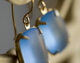 Dangle Earrings. Periwinkle Blue Squares. Vintage West German Frosted Rectangular Stones. Seaglass. Something Blue. Gift for her. Handmade