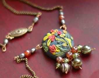Necklace- Polymer Clay - freshwater pearls - Artisan Jungle Berries