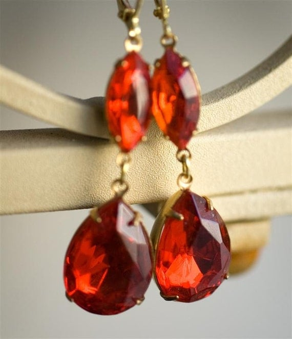 Rhinestone Earrings - Red Femme Fatale Old Hollywood Style