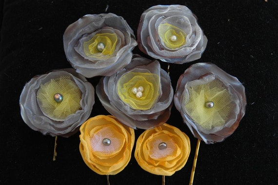 Custom Bridal Floral Bobby Pins - Gray and Yellow - Fabric Flowers in Your Wedding Colors - Bridesmaids - Flower Girls