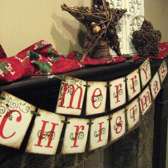 Christmas Decoration MERRY CHRISTMAS Banner Garland