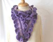 Lavender and Purple Ruffled Crochet Scarf, Handmade, LA In Stitches