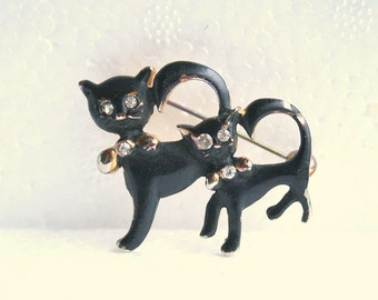 Vintage 1950s Black Cats Brooch Vintage Kitty Figural Pin Black Enamel Rhinestone Accents